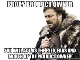 Proxy Meme - proxy product owner you will act as the eyes ears and mouth of the