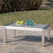 Aluminum Coffee Tables Coral Bay Outdoor Aluminum Coffee Table With Glass Top In Coffee