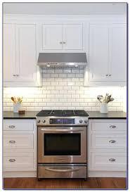 white beveled subway tile kitchen backsplash herringbone