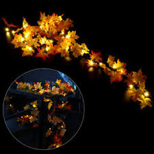 10 led lighted leaf harvest fall leaves garland lights string