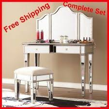 Silver Vanity Table White Desk Vanity Set Tables With Mirror Mirrored Stool Console