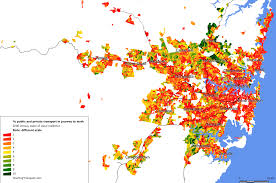 Sydney Map Employment Density Charting Transport