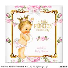princess baby shower pink white floral blonde card party