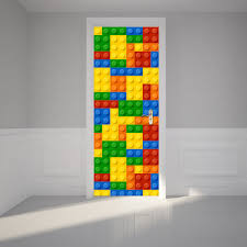 Door Decals For Home by Door Wall Mural 3d Building Blocks Wallpaper Stickers Vinyl