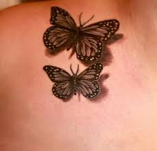 3d black and white butterflies tattooed by kiersztyn