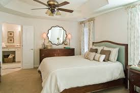 Greige Bedroom Mirrored Dresser In Bedroom Traditional With Ceiling Fan Next To