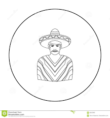 mexican man in sombrero and poncho icon in outline style isolated