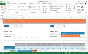 Home Budget Excel Template Monthly Home Budget Template For Microsoft Excel 2013