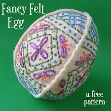 easter craft ideas free embroidered felt egg pattern shiny