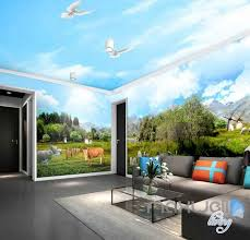 3d farm view sheep cow entire room wallpaper wall murals business