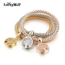 charm bracelet gold vintage images Longway vintage designer austrian rhinestones gold color tree of jpg