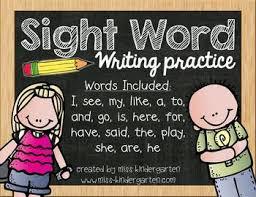 sight word writing practice by miss kindergarten love tpt