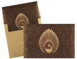 indian wedding invitation cards usa brown and golden peacock design card wedding invitations