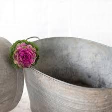 Galvanised Vases Metal Tub Oval Blue Wren Barn