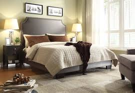 Eastern Accents Bed Athens Eastern King Bed With Nail Head Accents In Elephant Grey