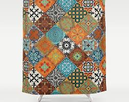 aqua shower curtain etsy