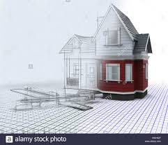 3d render of a timber house on a grid with drawing instruments