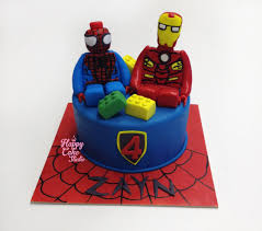 lego spiderman u0026 iron man cake u0026 cupcakes happy cake studio