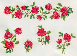 5 strips of roses shabby chic original vintage decals transfers