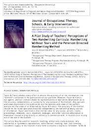 a pilot study of teachers u0027 perceptions of two handwriting