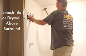 Tile A Bathtub Surround How To Remove A Fiberglass Bathtub And Surround In 60 Minutes