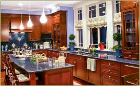Granite Countertops With Cherry Cabinets Blue Pearl Granite Cherry Cabinets Kitchen Reno Pinterest