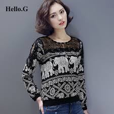 elephant blouse 2016 bottoming shirt slim lace elephant tribal print