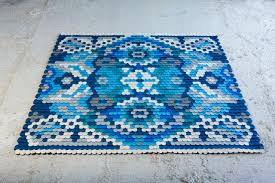Rugs With Teal A Traditional Rug Made Of Felt Scales Design Milk