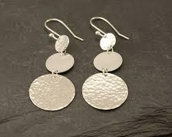 large silver hoop earrings silver hammered disc earrings large sterling silver earrings