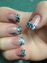 blue black silver leopard and zebra print nail design nails by