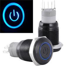 12 volt push button light switch 1 pc new waterproof 16mm 12v latching push button power switch black