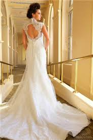 mermaid scalloped french lace open back wedding dress with buttons