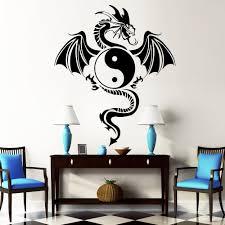 Schlafzimmer Yin Yang Großer Drache Tribal Yin Yang Wandtattoos