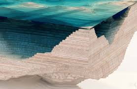 topography coffee table layered glass table concept creates a cross section of the ocean