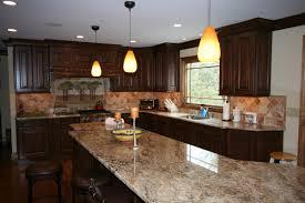L Shape Kitchen Decoration Using Brown Granite Kitchen Island Top - Habersham cabinets kitchen