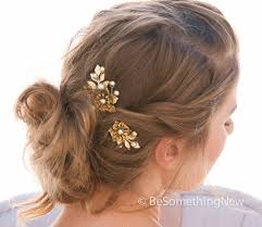 gold hair accessories wedding hair pins large vintage golden flower bobby pins with
