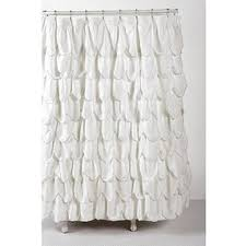 Ivory Shower Curtain Stitched Scallop Ruffle Shower Curtain Ivory One Size By Urban