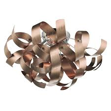 ribbon light 4 light flush ceiling feature with twirled copper ribbon
