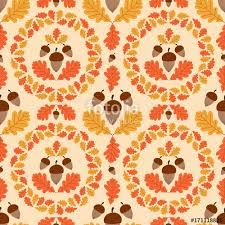 autumn forest pattern vector seamless acorns and oaks leaves