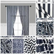 Navy Blue And White Curtains Navy Blue Curtain Panels Modern Geometric Chevron Damask