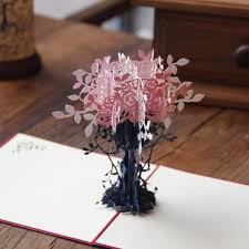 greeting cards invitation paper pop up 3d flower tree for birthday