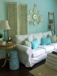 cute shabby chic living room with nice teal wall color