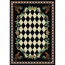 Black And White Checkered Area Rug French Country Rooster Rugs Wayfair