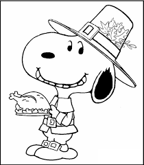 snoopy thanksgiving coloring picture kids snoopy