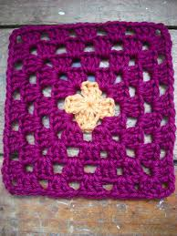 purple chair crochet granny square variation