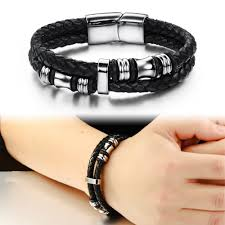 stainless steel black bracelet images Black double layer braided leather bracelet men stainless steel jpg