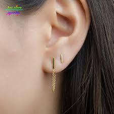 gold bar stud earrings aliexpress buy minimalist simple gold tone 1cm bar stud