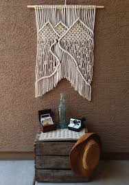 mountain landscape macrame wall hanging white cotton rope zoom