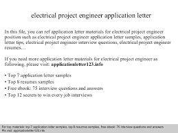Electrical Project Engineer Resume Sample Electrical Project Engineer Application Letter