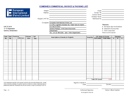 Packing List Template Excel Commercial Invoice Packing List Invoice Template Ideas
